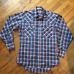 Vintage Levi's Western Shirt-red white blue plaid